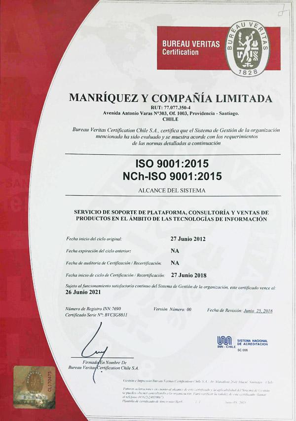 Certificado NCH ISO 9001 2015