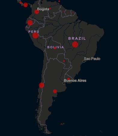 Mapa de casos de contagios en América del Sur. Miércoles 22 de abril de 2020.