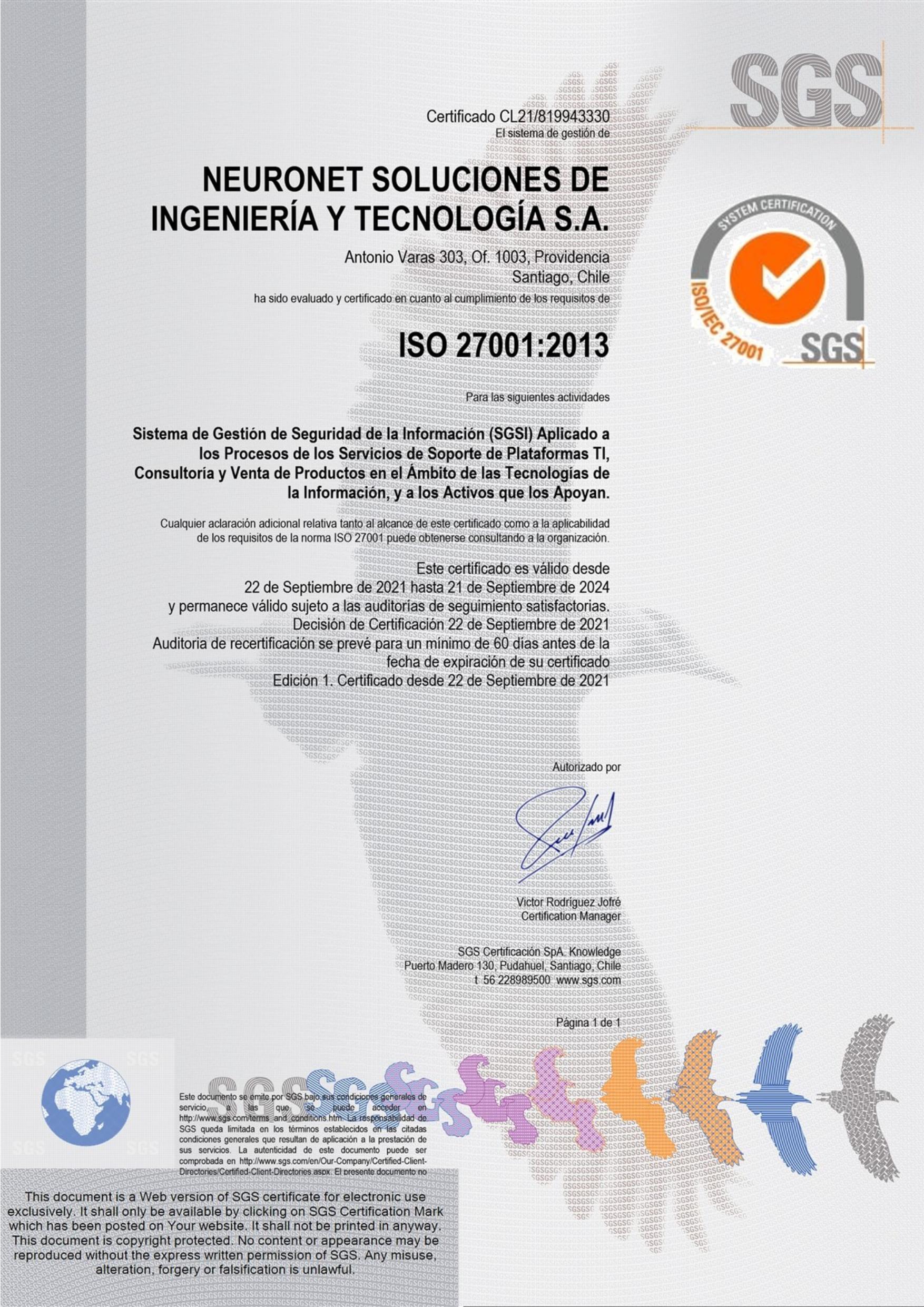 Empresa certificada iso 27001 Chile